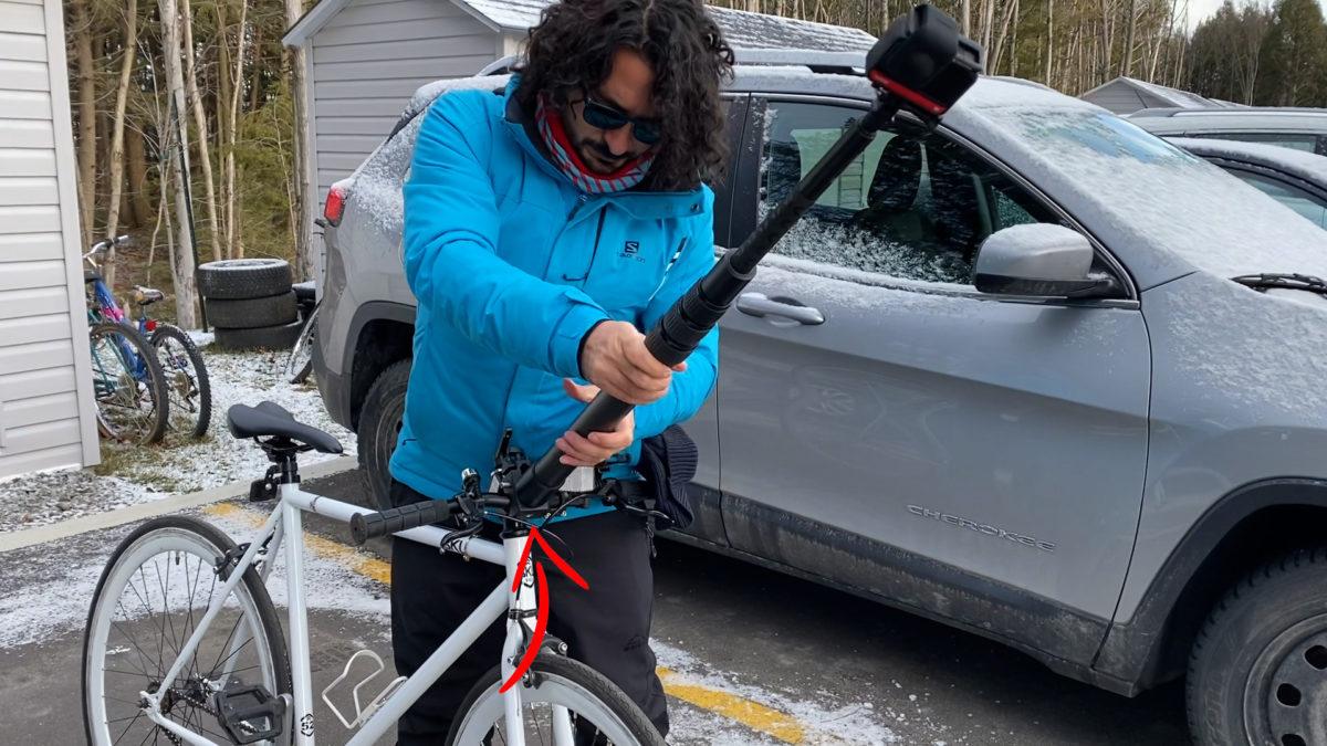 Vara Freedom 360 acoplada a mi bicicleta gracias a la abrazadera